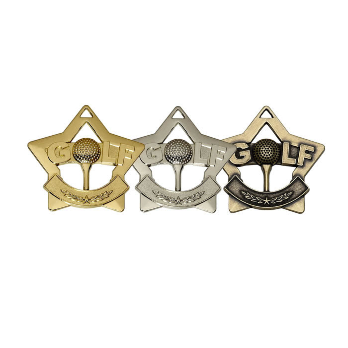 60mm Gold Mini Star Golf Medal