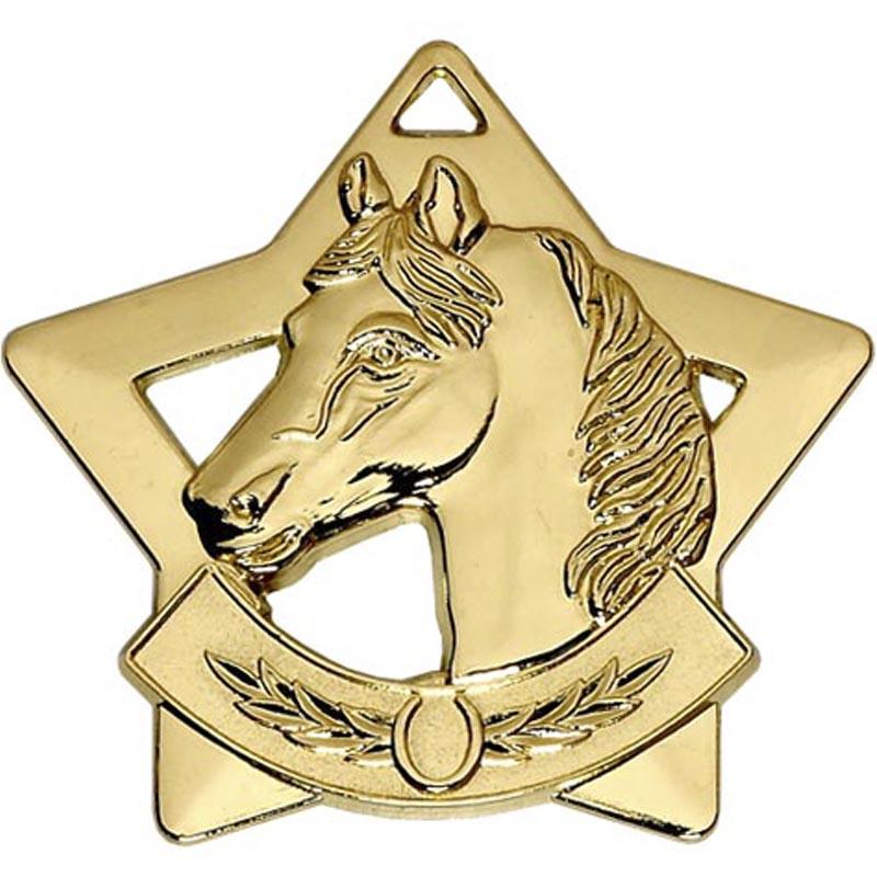 60mm Gold Mini Star Equestrian Medal