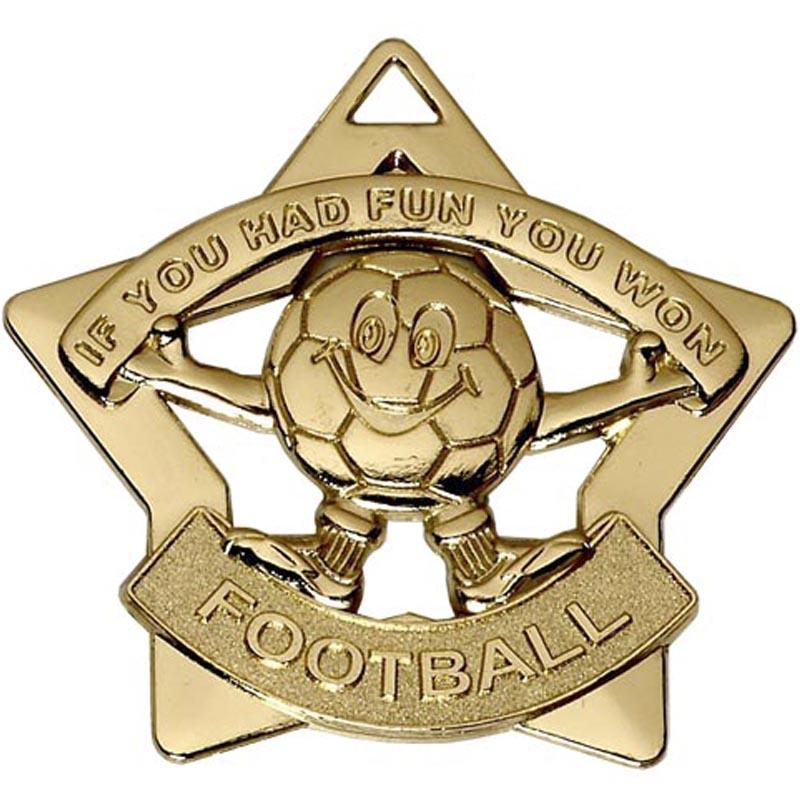60mm Mini Star Football Gold Medal