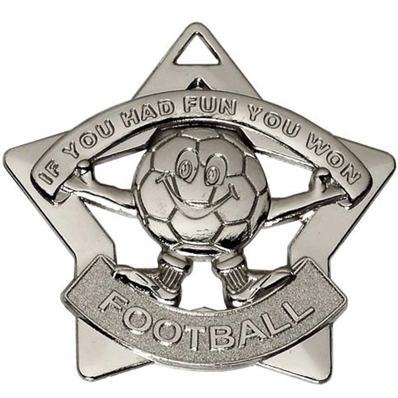 60mm Mini Star Football Silver Medal