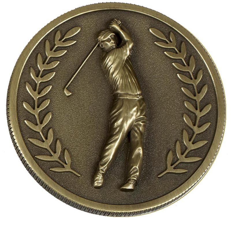 60mm Gold Laurel Wreath Golf Prestige Medal
