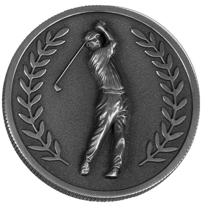 60mm Silver Laurel Wreath Golf Prestige Medal