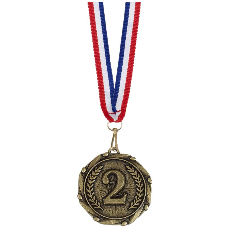 Gold Number 2 Wreath Combo Medal