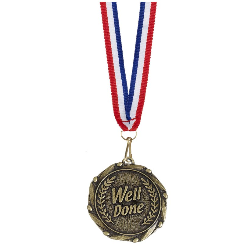 45mm Gold Well Done Wreath Combo Medal