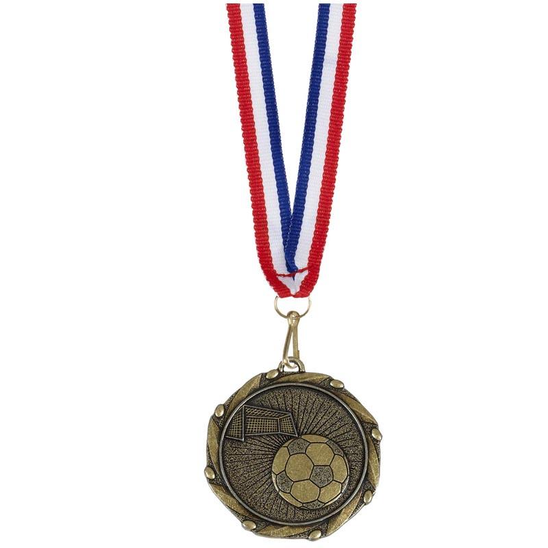 45mm Antique Gold Ball & Goal Football Combo Medal