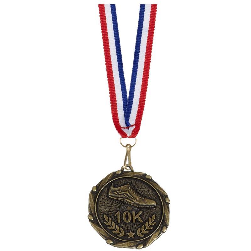 Antique Gold 10k Running Combo Medal