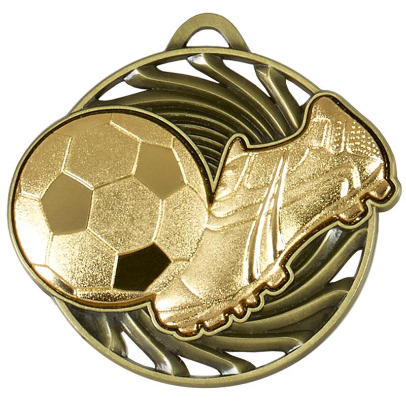 50mm Gold Boot & Ball detail Football Vortex Medal