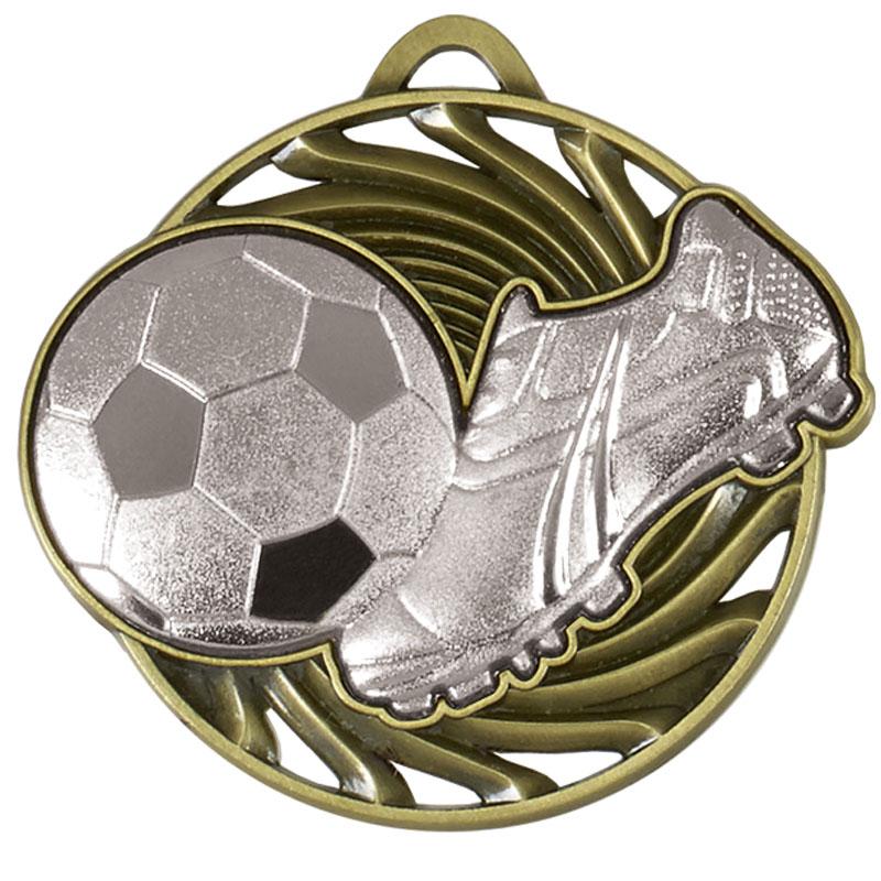 50mm Silver Boot & Ball detail Football Vortex Medal