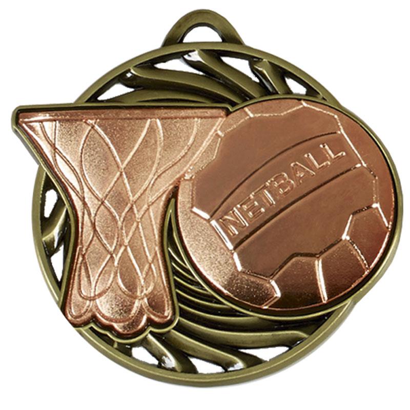 50mm Bronze Ball & net Netball Vortex Medal