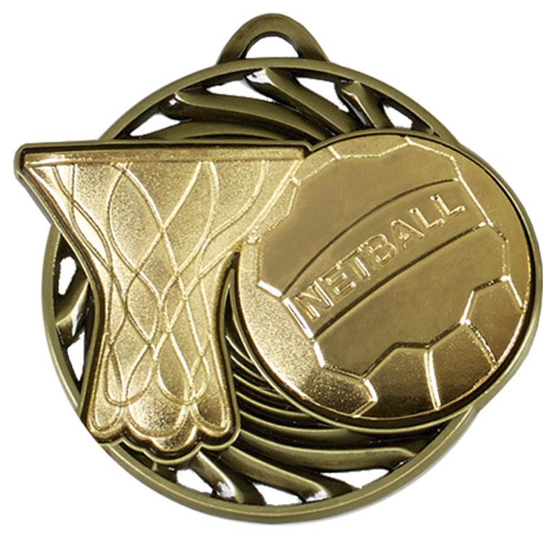 50mm Gold Ball & net Netball Vortex Medal