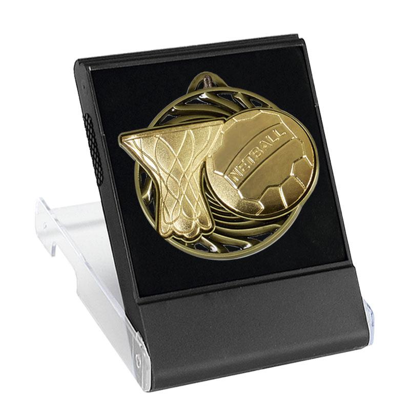 50mm Gold Ball & net Netball Vortex Cased Medal
