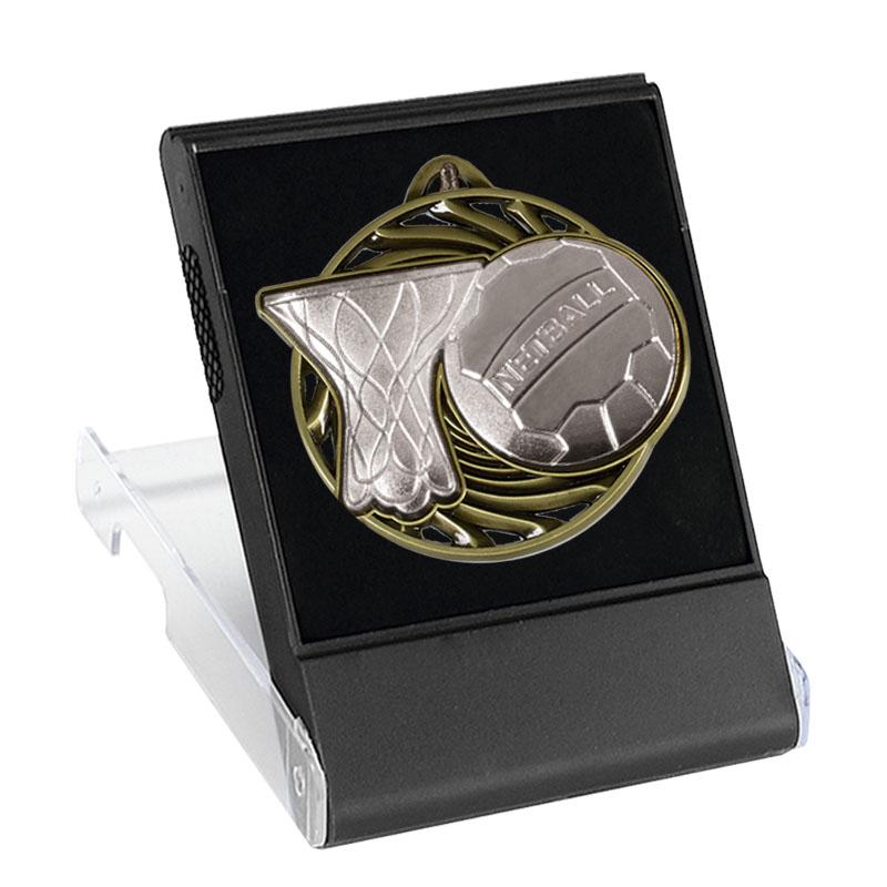 50mm Silver Ball & Net Netball Vortex Cased Medal
