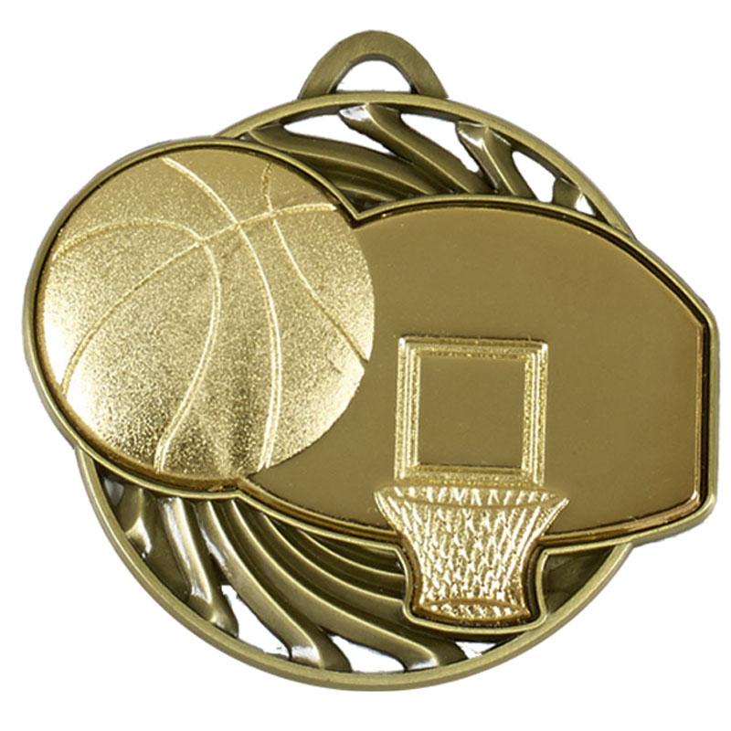gold Ball & Net Basketball Vortex Medal