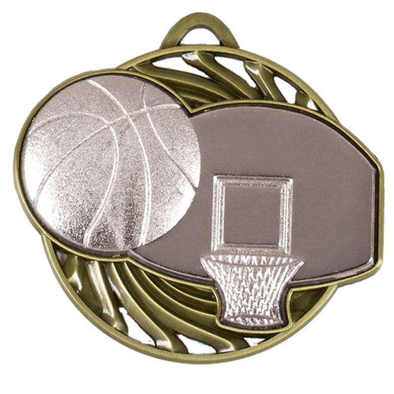 50mm Silver Ball & Net Basketball Vortex Medal