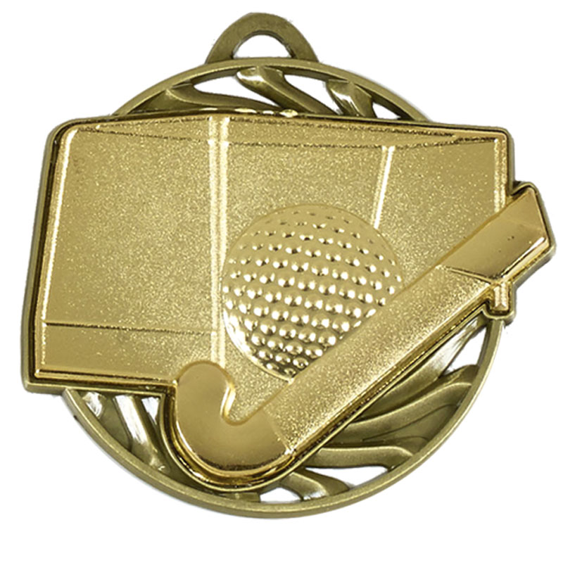 50mm Gold Ball & stick Hockey Vortex Medal