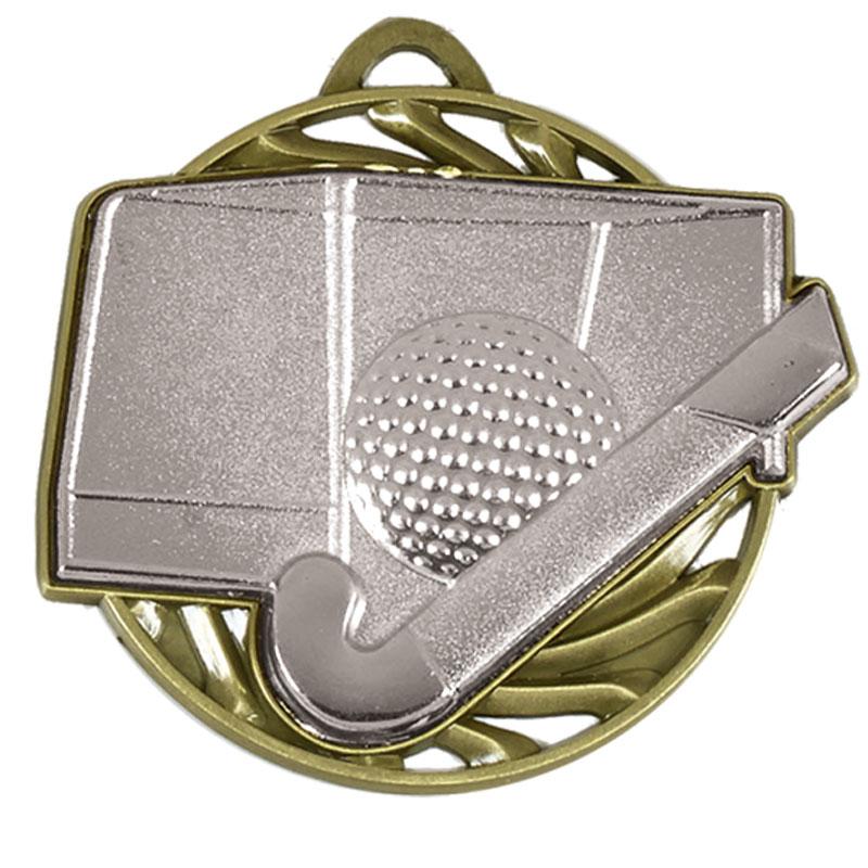 Silver Ball & stick Hockey Vortex Medal