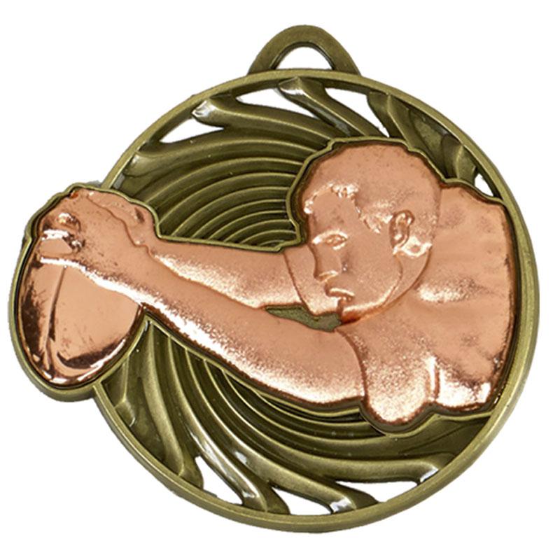 50mm Bronze Try Rugby Vortex Medal