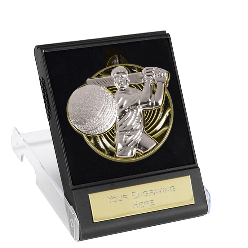 50mm Silver Swing Cricket Vortex Cased Medal
