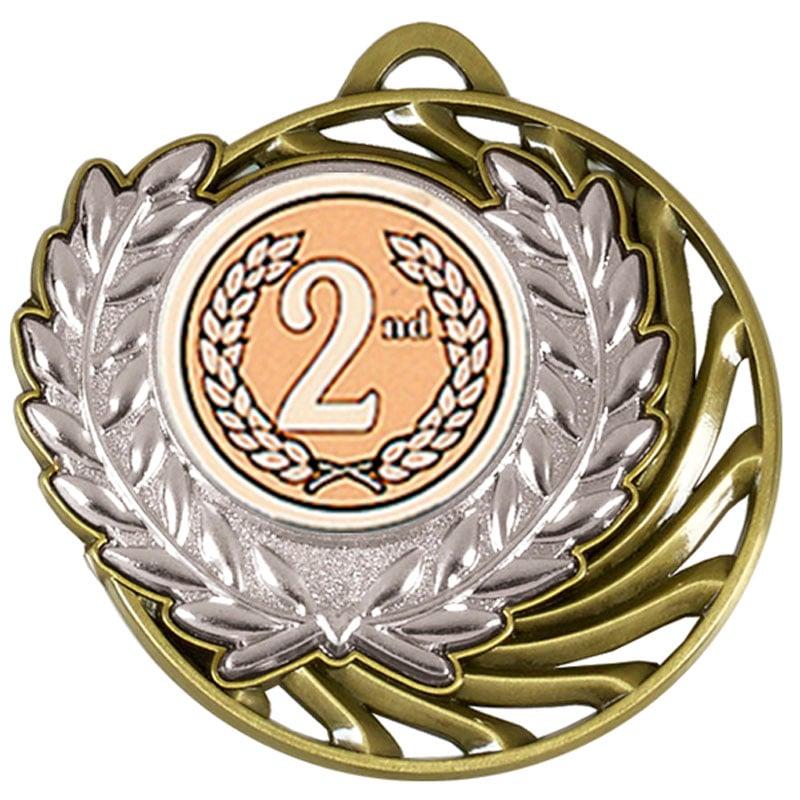 50mm Silver Centre Holder Wreath Vortex Medal
