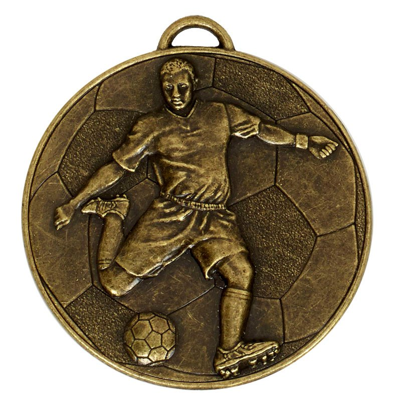 60mm Bronze Detailed Player on Ball Football Helix Medal