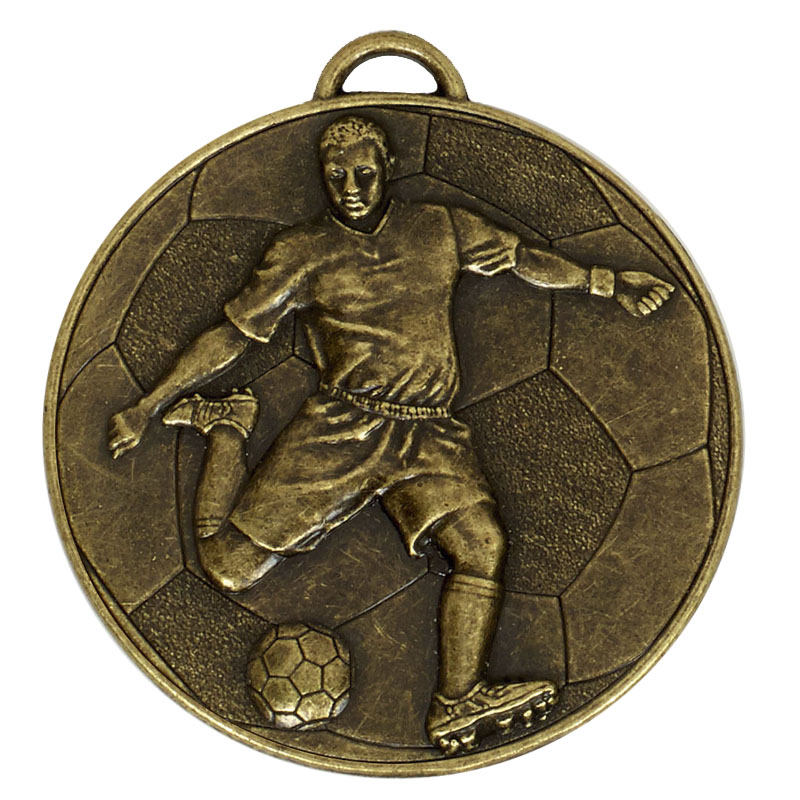 Bronze Detailed Player on Ball Football Helix Medal