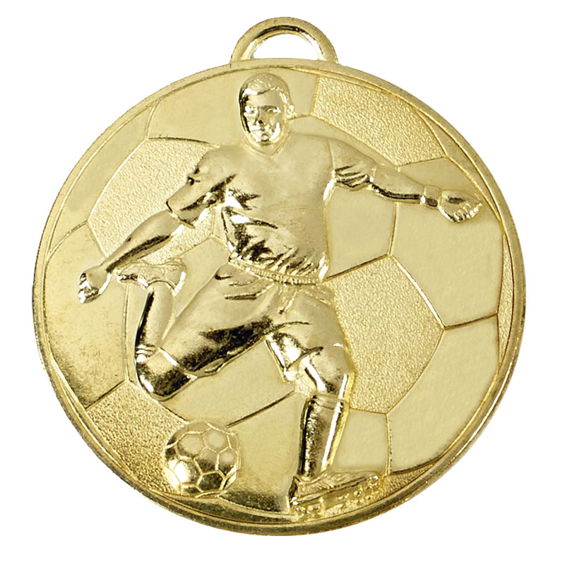 60mm Gold Detailed Player on Ball Football Helix Medal