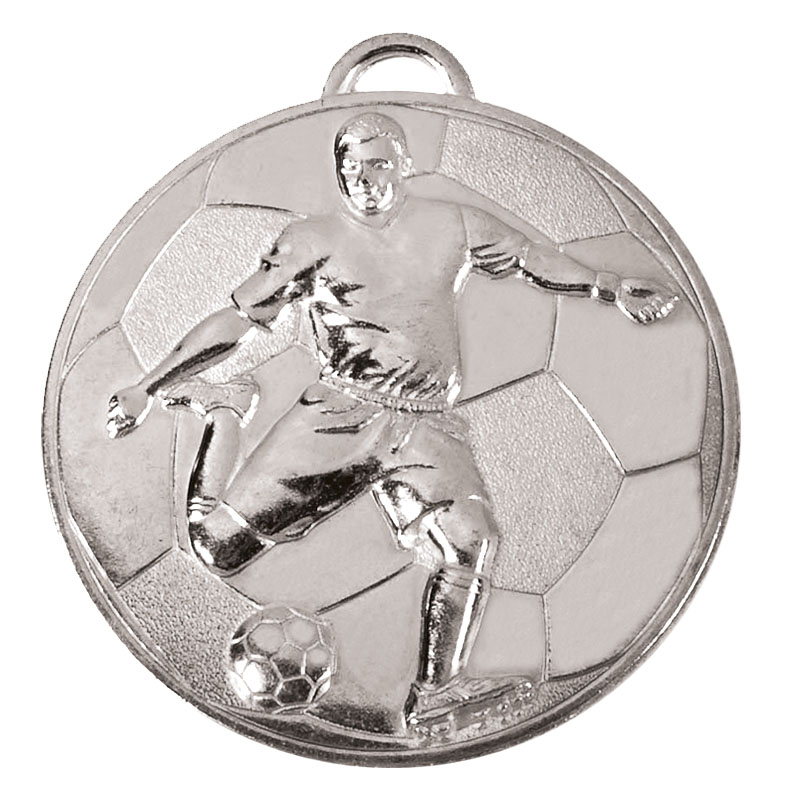 60mm Silver Detailed Player on Ball Football Helix Medal