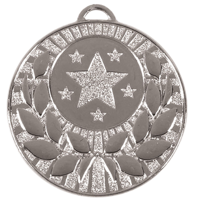 50mm Silver Star Wreath Target Medal