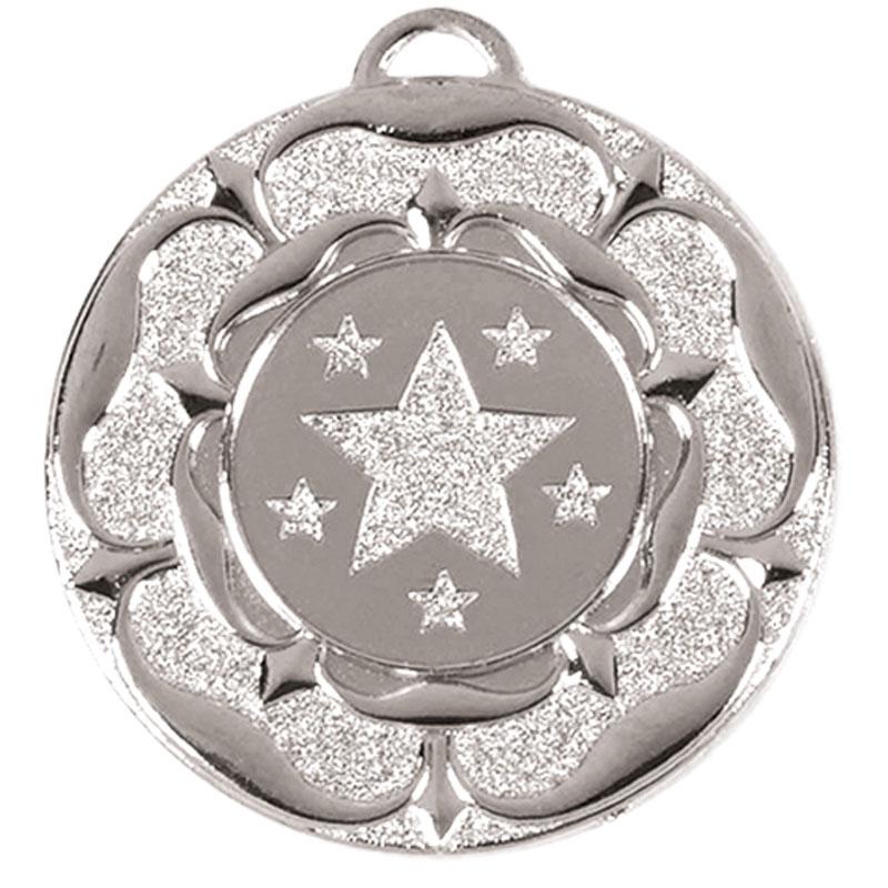 50mm Silver Star Flower Target Medal