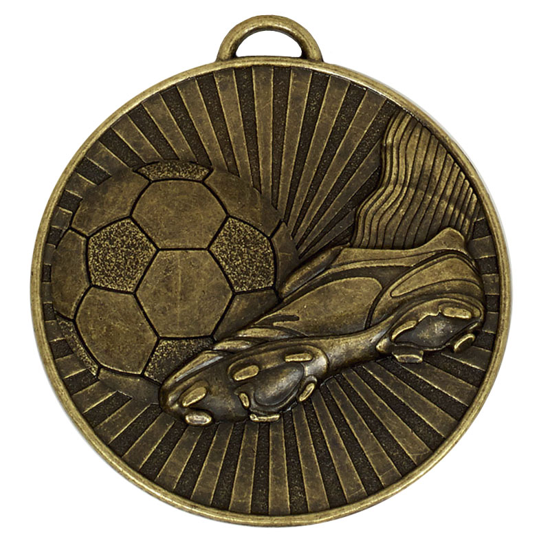 60mm Bronze Detailed Ball & Boot Football Helix Medal