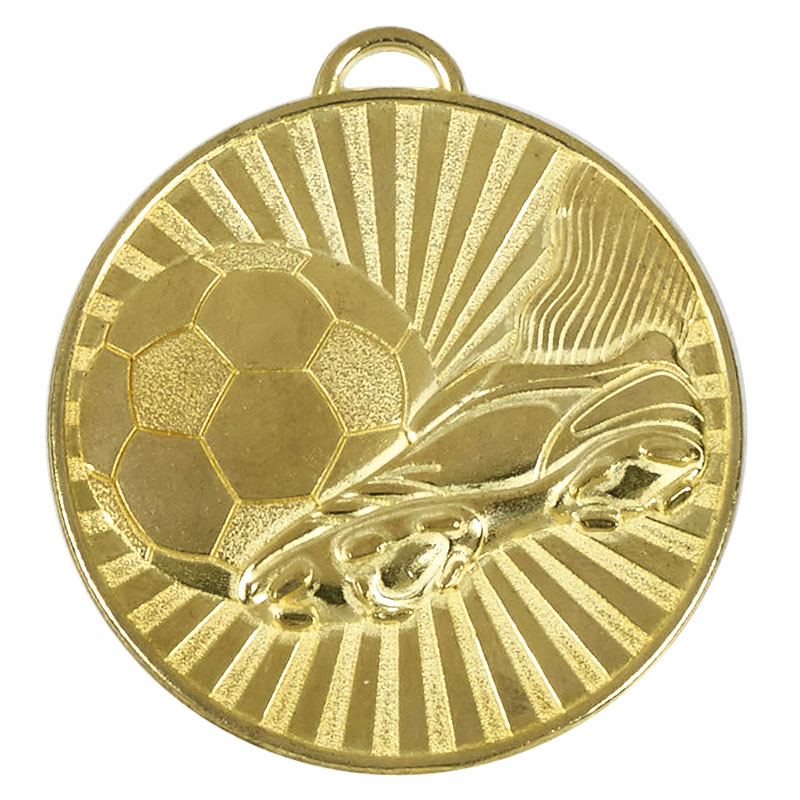 60mm Gold Detailed Ball & Boot Football Helix Medal