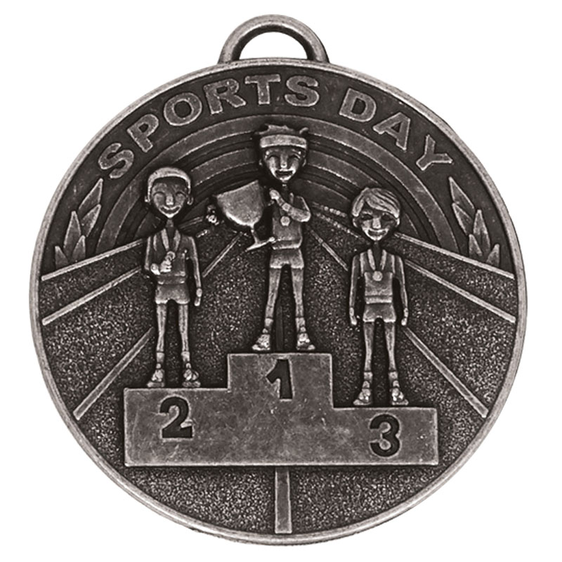 50mm Silver Sports Day School Target Medal