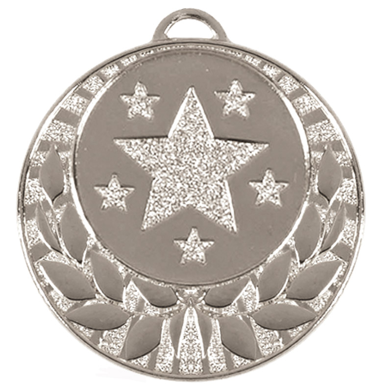 40mm Silver Star Wreath Target Medal