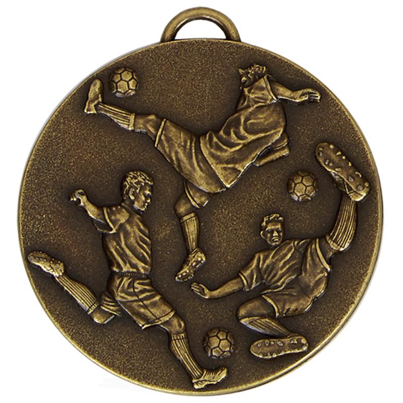 50mm Three Kicks Football Target Medal