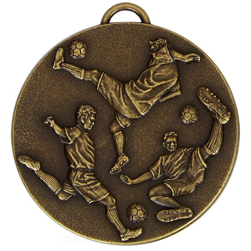 60mm Three Kicks Football Target Medal