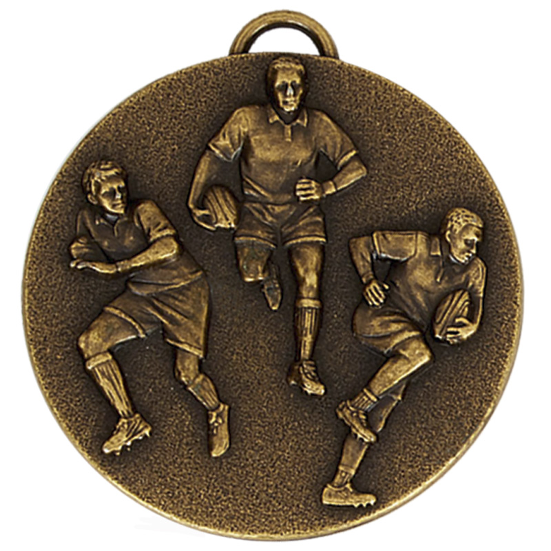 Antique Gold Team Rugby Target Medal