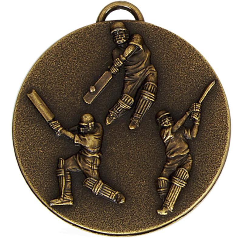 50mm Antique Gold Cricket Target Medal