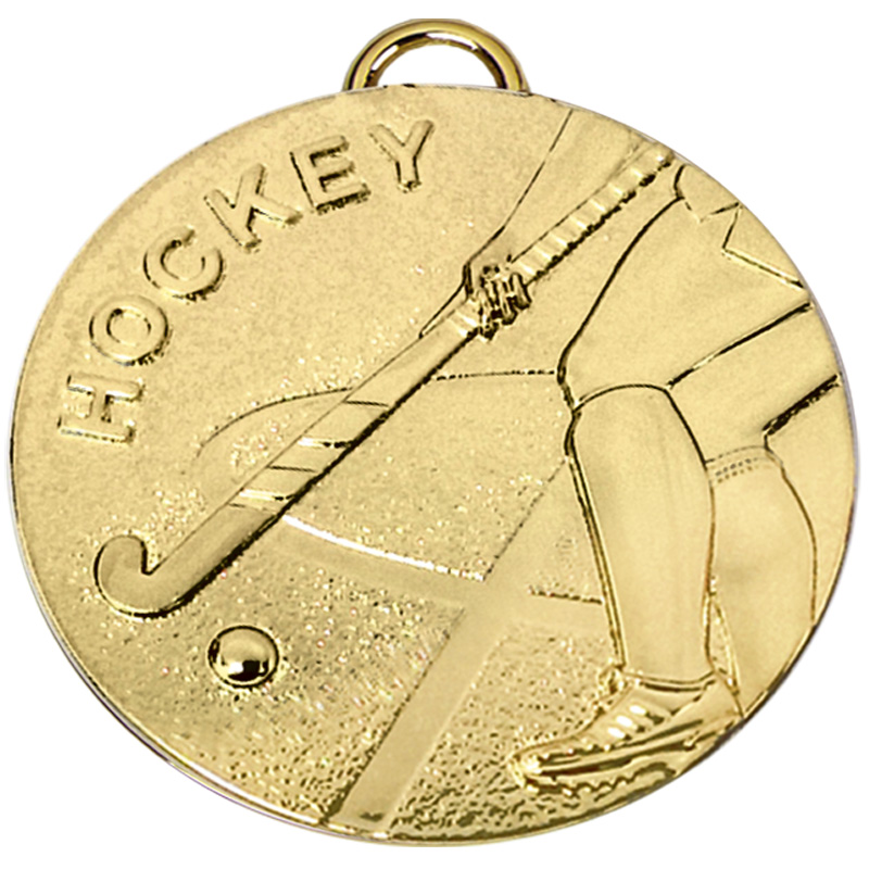 50mm Gold Stick Hockey Target Medal