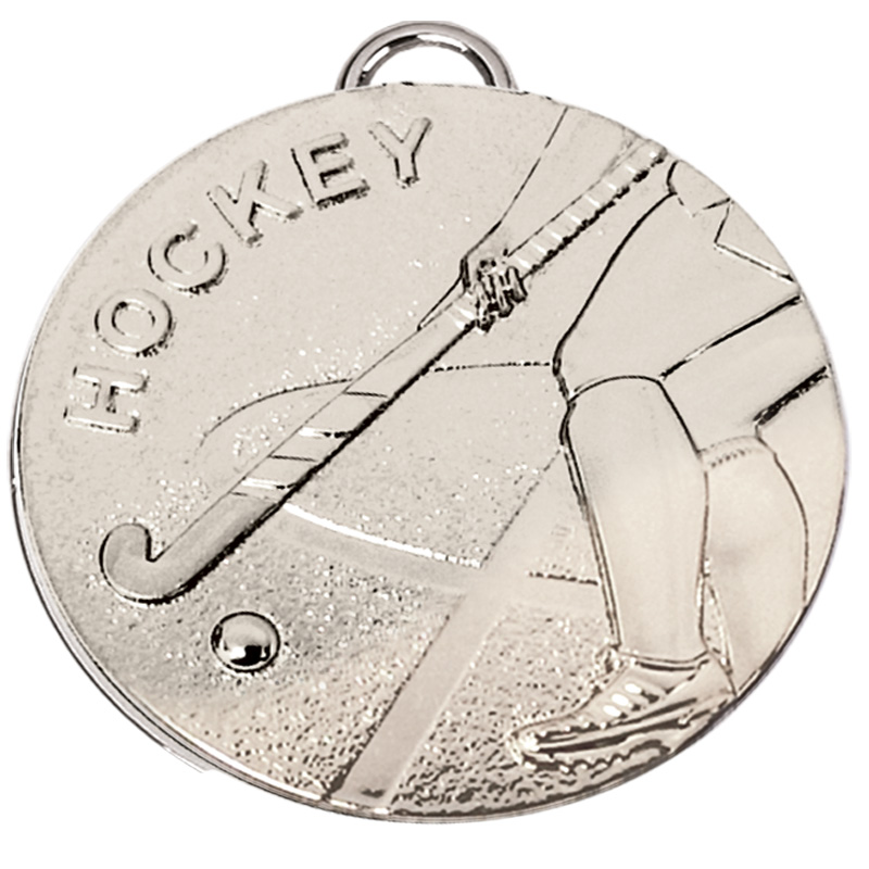 50mm Silver Stick Hockey Target Medal