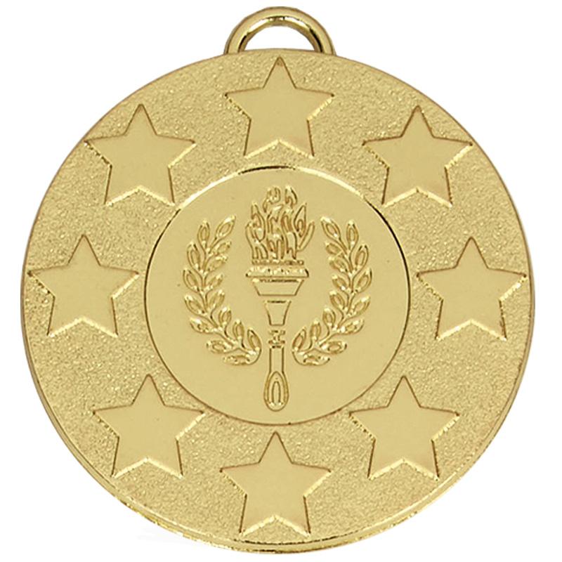 50mm Gold Star Torch Target Medal