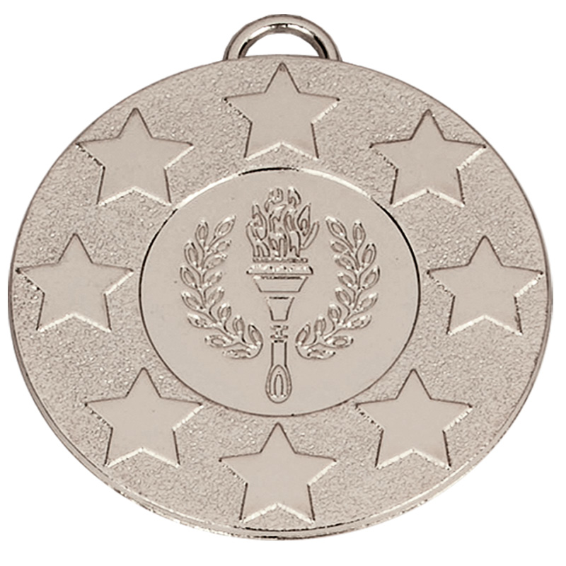 50mm Silver Star Torch Target Medal