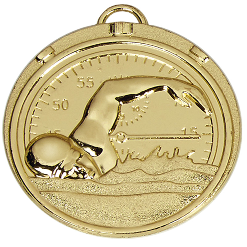 50mm Gold Front Crawl Swimming Target Medal