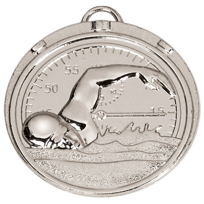 50mm Silver Front Crawl Swimming Target Medal