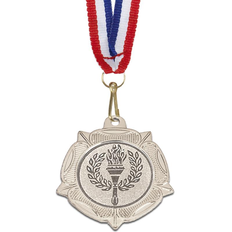 40mm Silver Centre Holder Tudor Rose Medal