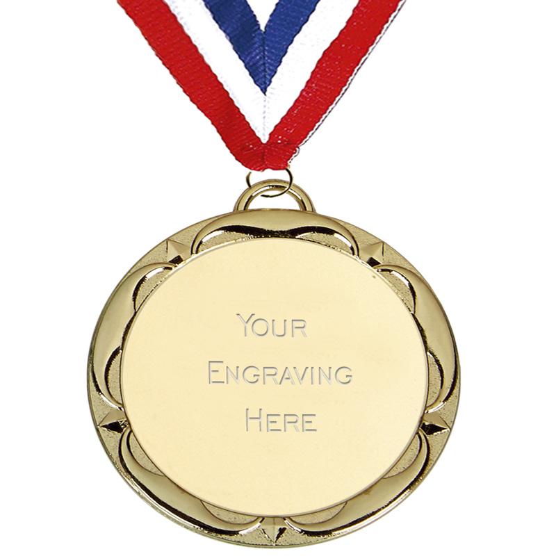 60mm Gold Engraving Centre Target Medal