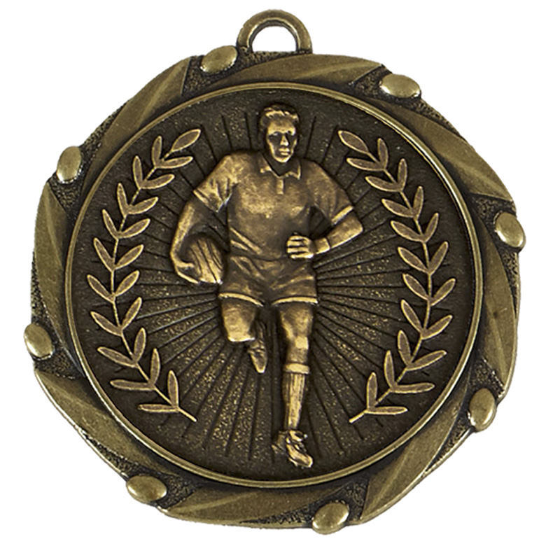 Antique Gold Wreath Rugby Combo Medal