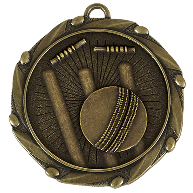 45mm Antique Gold Bowled Out Cricket Combo Medal