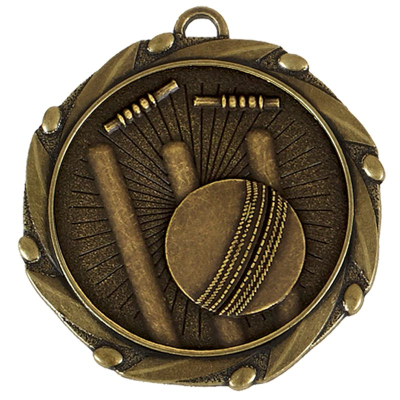 Antique Gold Bowled Out Cricket Combo Medal