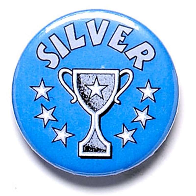 1 Inch Silver Cup Pin Badge
