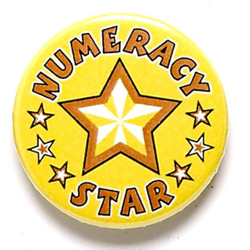 1 Inch Numeracy Star Pin Badge